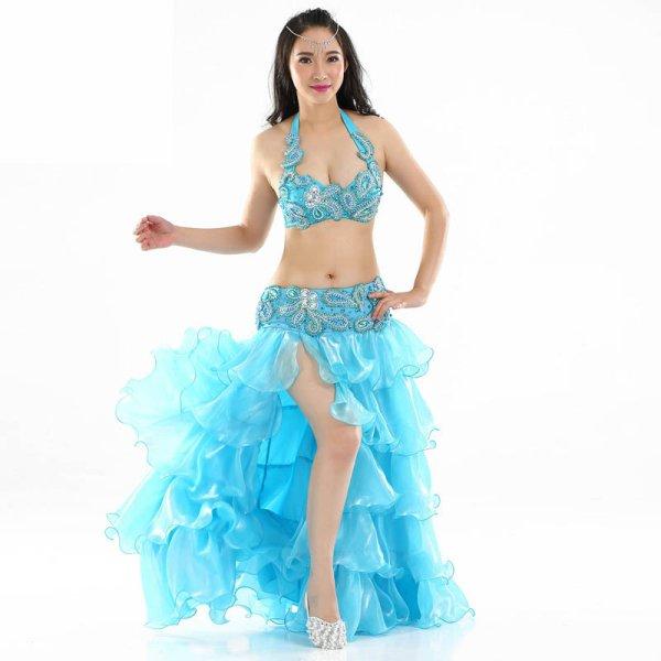 画像1: ベリーダンス衣装コスチューム --ブラ+スカート 2点セット876 (1)