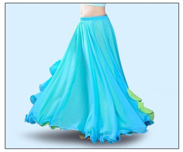 画像1: ベリーダンススカート040--[多色可」フリルスリット スカート6011 (1)