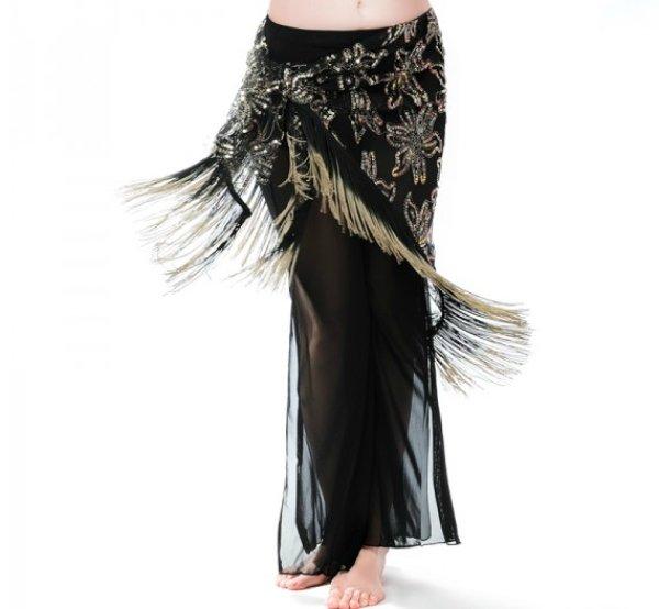 画像1: ベリーダンススカーフ--「多色可」ヒップスカーフH9755黒+金色 (1)