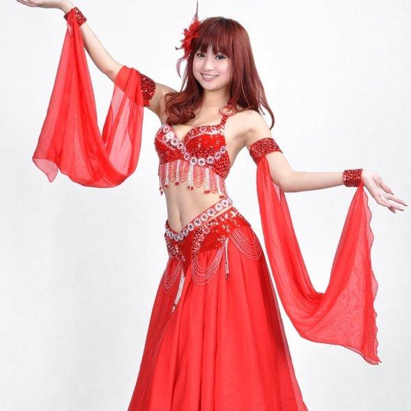 画像1: ベリーダンス衣装コスチュームS22--ブラ+ベルト 2点セット828 (1)