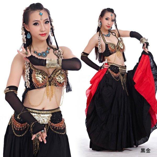 画像1: ベリーダンス衣装コスチュームS13--ブラ+ベルト 2点セット838 (1)
