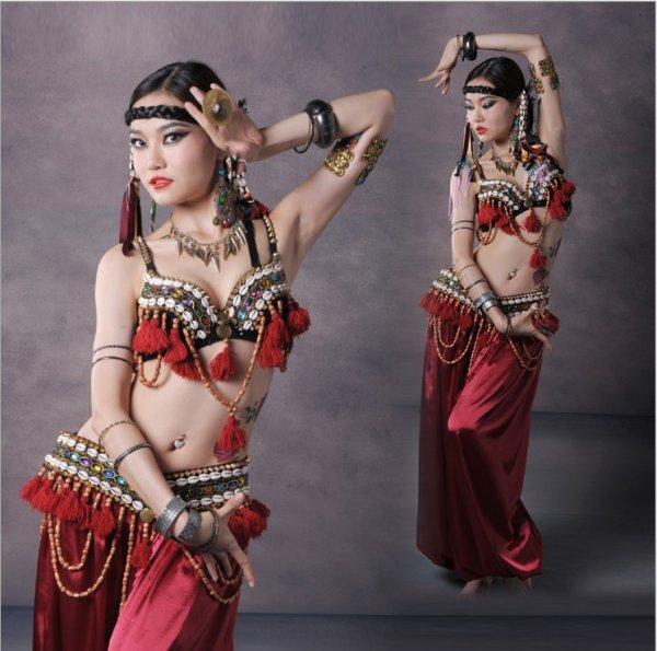 画像1: ベリーダンス衣装コスチューム--発表会用★3点セットWJ00606+KZ005 (1)