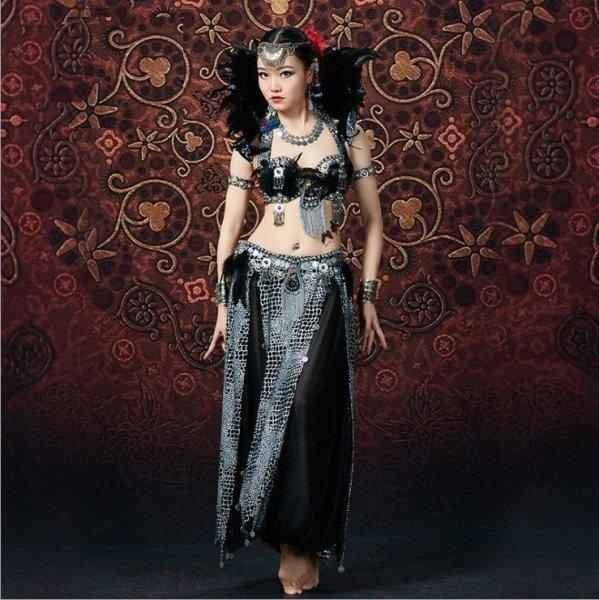 画像1: ベリーダンス衣装コスチューム--発表会用★3点セットWJ01556+Q01556 (1)