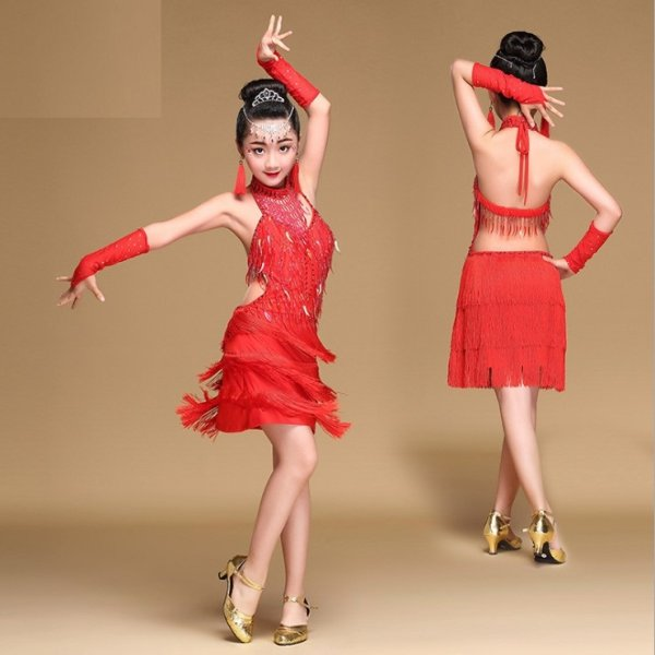 画像1: ラテンダンス 衣装 練習セット-子供用ワンピースQ05 (1)