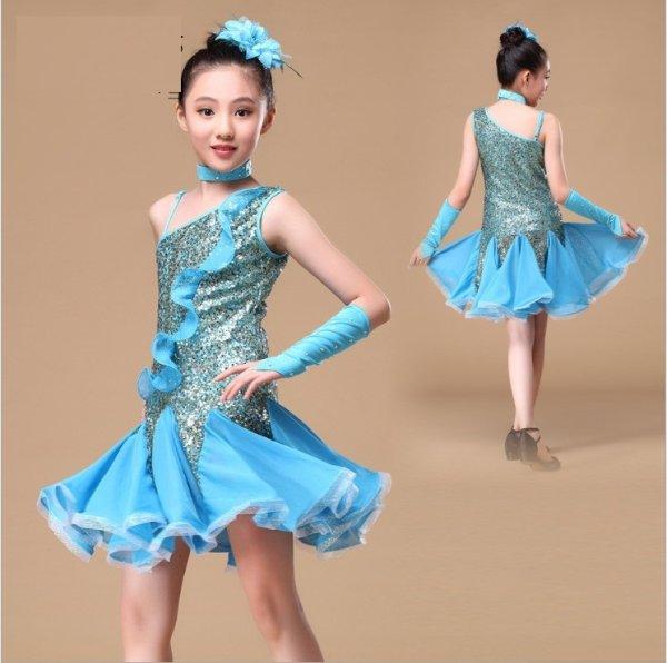 画像1: ラテンダンス 衣装 練習セット-子供用ワンピースTL00994 (1)