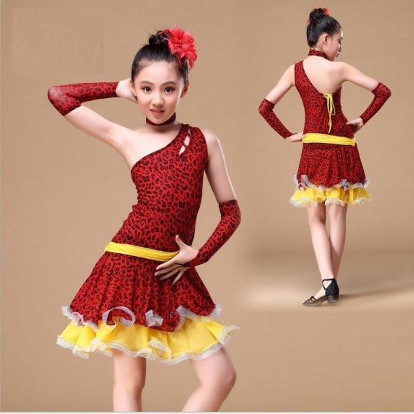 画像1: ラテンダンス 衣装 練習セット-子供用ワンピースTL00988 (1)