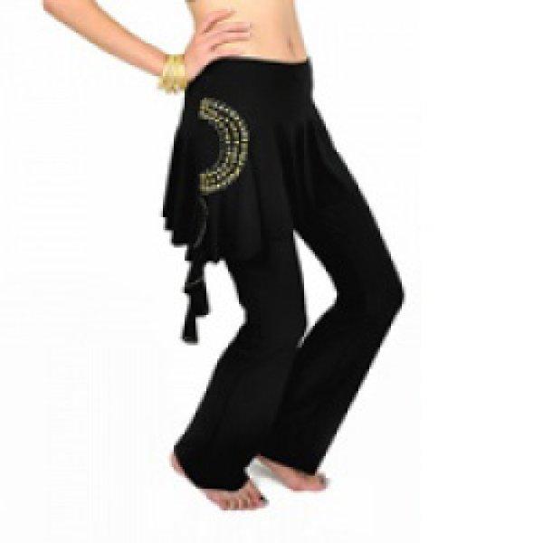 画像1: ベリーダンスパンツ009--「全9色」スカート付き練習用パンツ(k25) (1)